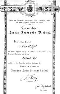 Urkunde LFV Bayern von 1899